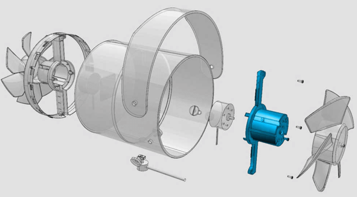 Parts of a USB fan