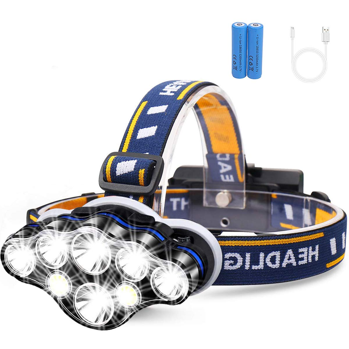 GM10201 8 LED USB 1000 lumen Rechargeable Headlamp