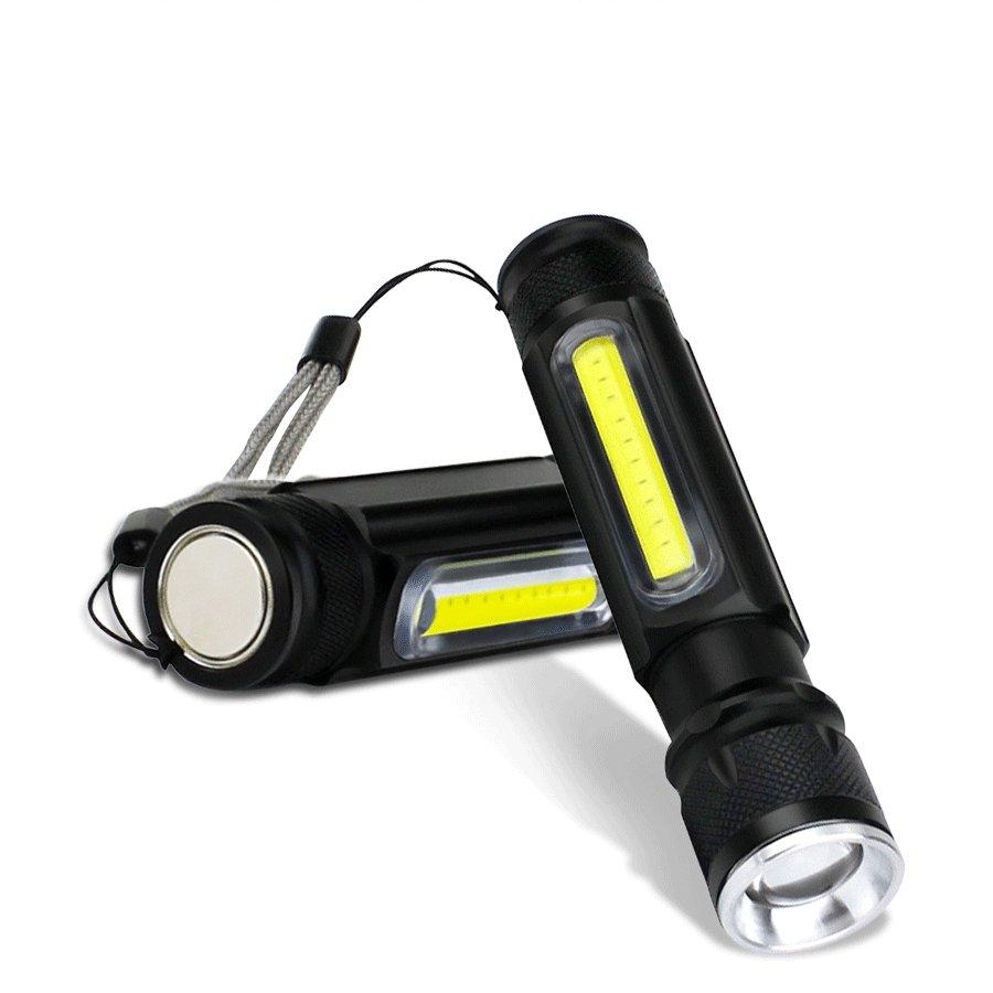 GM10799+LED Rechargeable Flashlight XML-T6+COB Mini Usb Torch 18650 Flashlight With Magnet Work Light Magnetic Flashlight