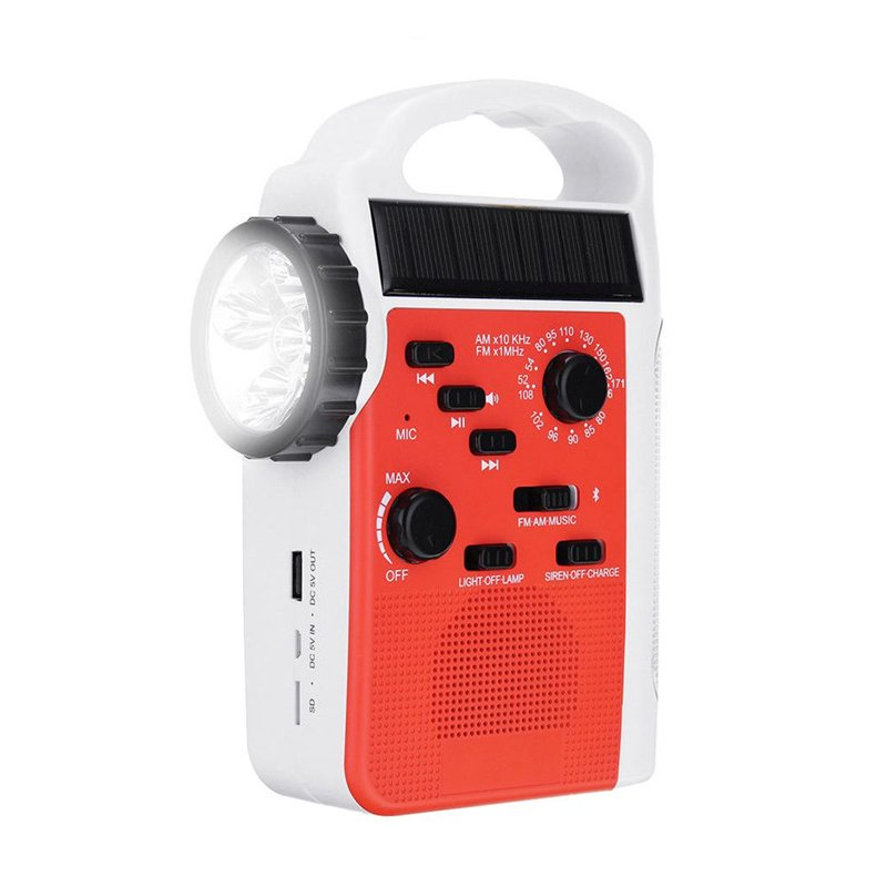 GM11071+AMFM Bluetooth Solar Hand Crank Dynamo Outdoor Radio With Speaker rechargeable flashlight