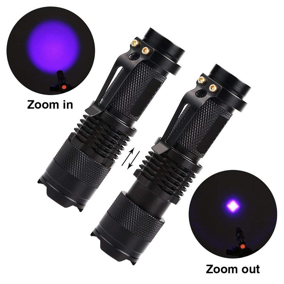 GM11119+LED UV Flashlight Ultraviolet Torch With Zoom Function Mini UV Black Light Pet Urine Stains Detector Scorpion Hunting