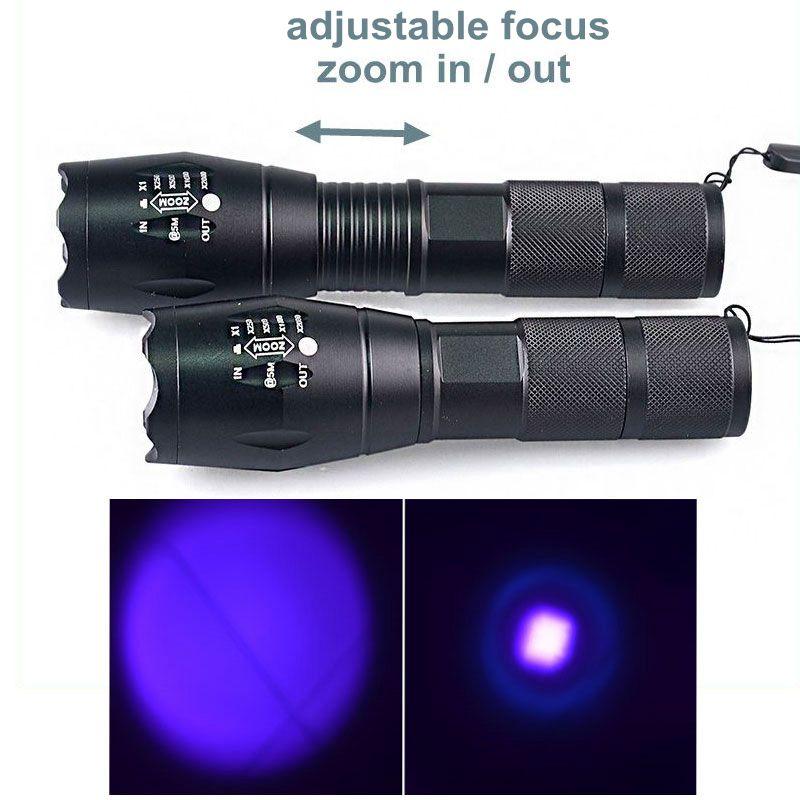 GM11133+5W Power Aluminum Zoom Ultraviolet Flashlight Lamp Black Light Torch UV Flashlight