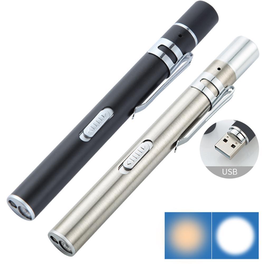 GM11149+Portable Mini Medical Handy Pen Light USB Rechargeable Dual Light Color Nursing Penlight Flashlight