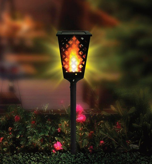 GM001 square shape flickering torch solar flame light