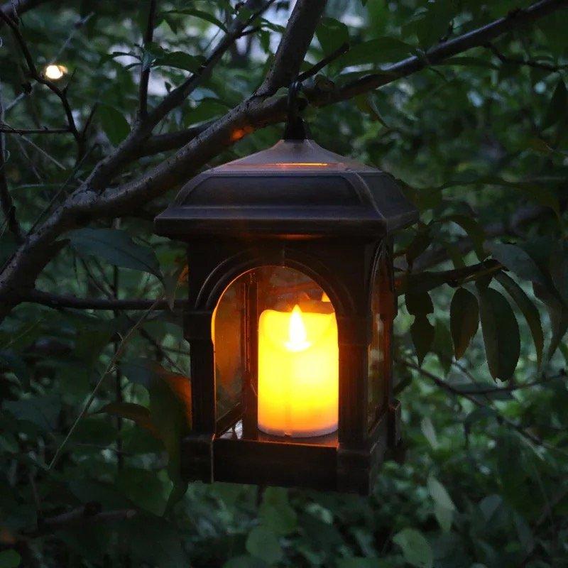GM003 retro style portable candle light solar flame light