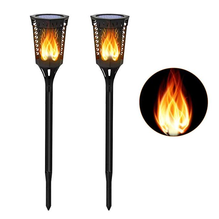 GM10817 96 led torch flickering solar flame battery garden lights